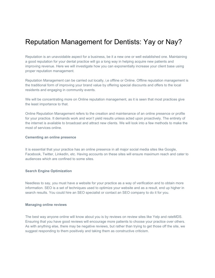 reputation management for dentists yay or nay n.