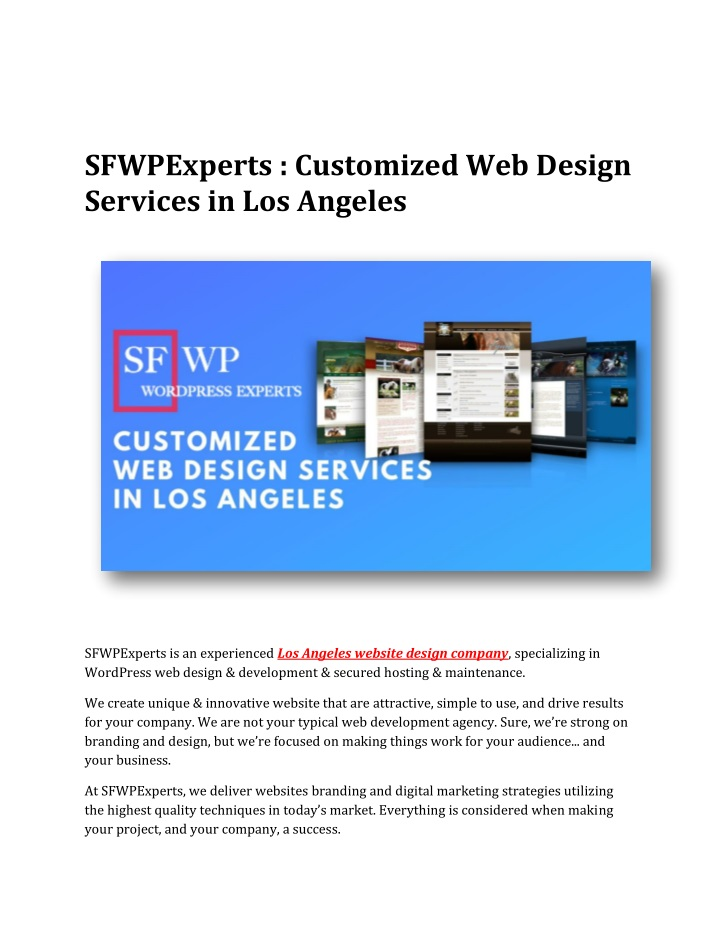 sfwpexperts customized web design services n.