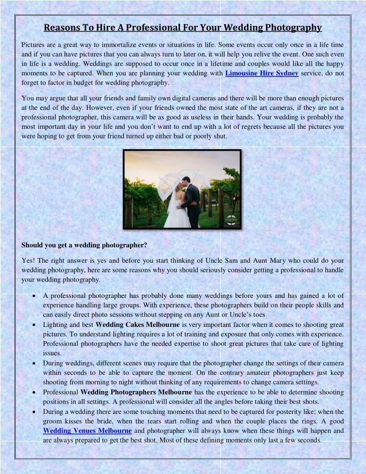 reasons to hire a professional for your wedding n.