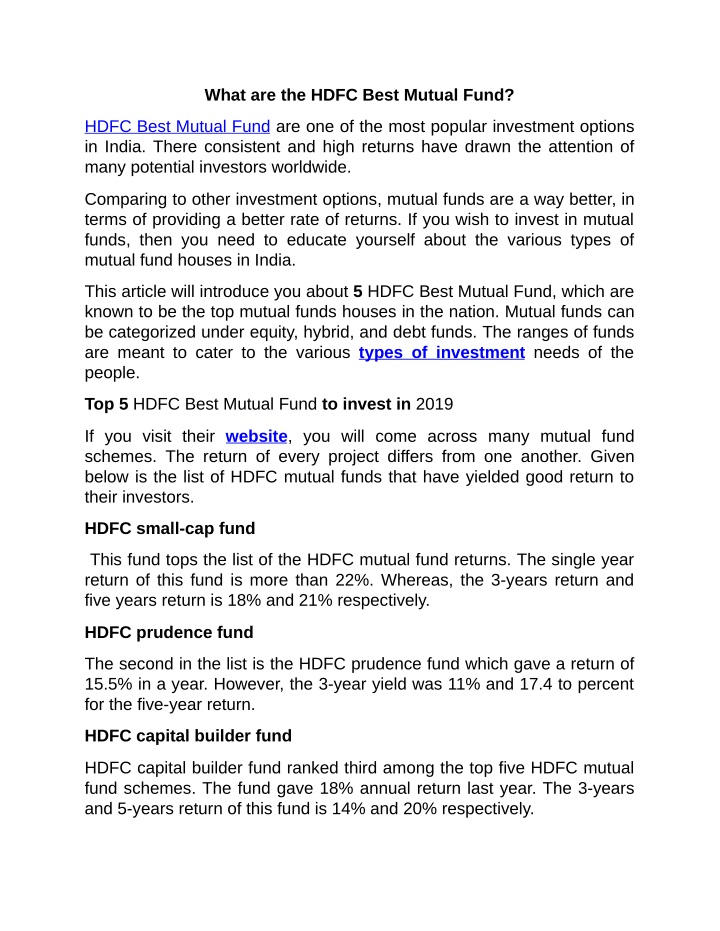 what are the hdfc best mutual fund n.