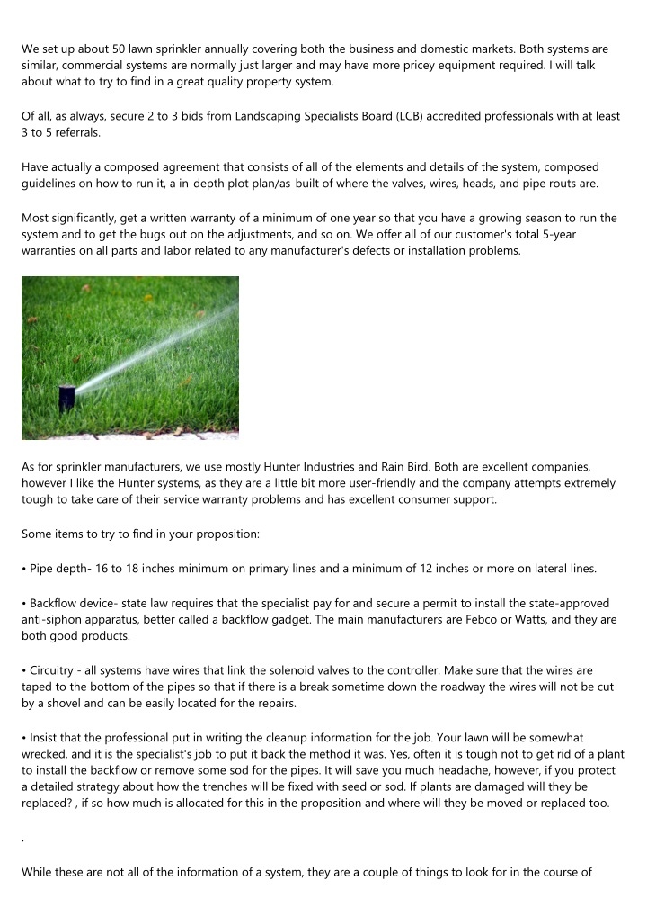 we set up about 50 lawn sprinkler annually n.