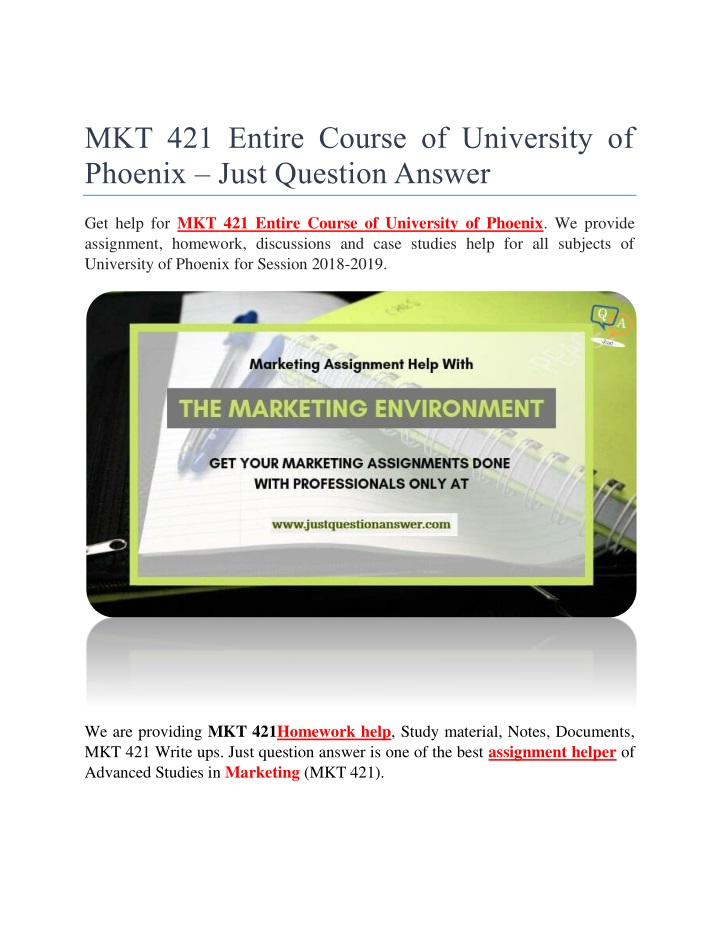 mkt 421 entire course of university of phoenix n.
