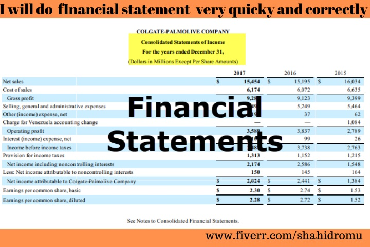 i will do financial statement very quicky n.