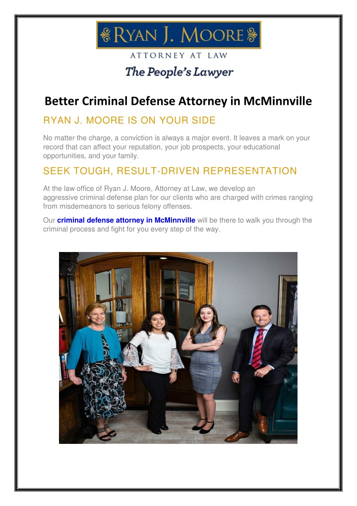 Better Criminal Defense Attorney in McMinnville