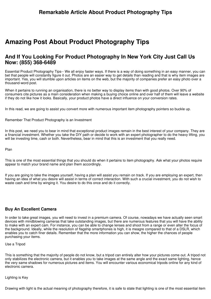 remarkable article about product photography tips n.