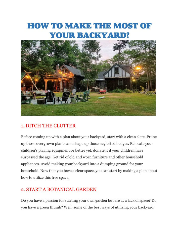 how to make the most of your backyard n.
