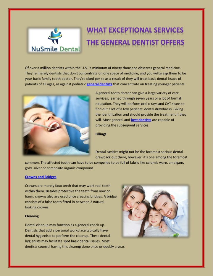 of over a million dentists within n.