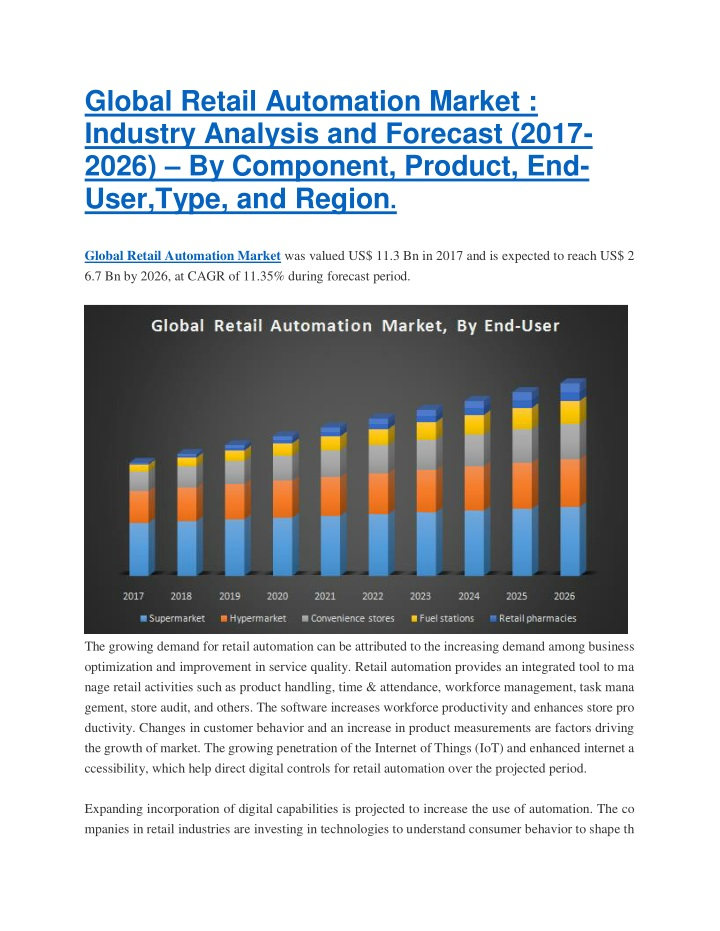 global retail automation market industry analysis n.