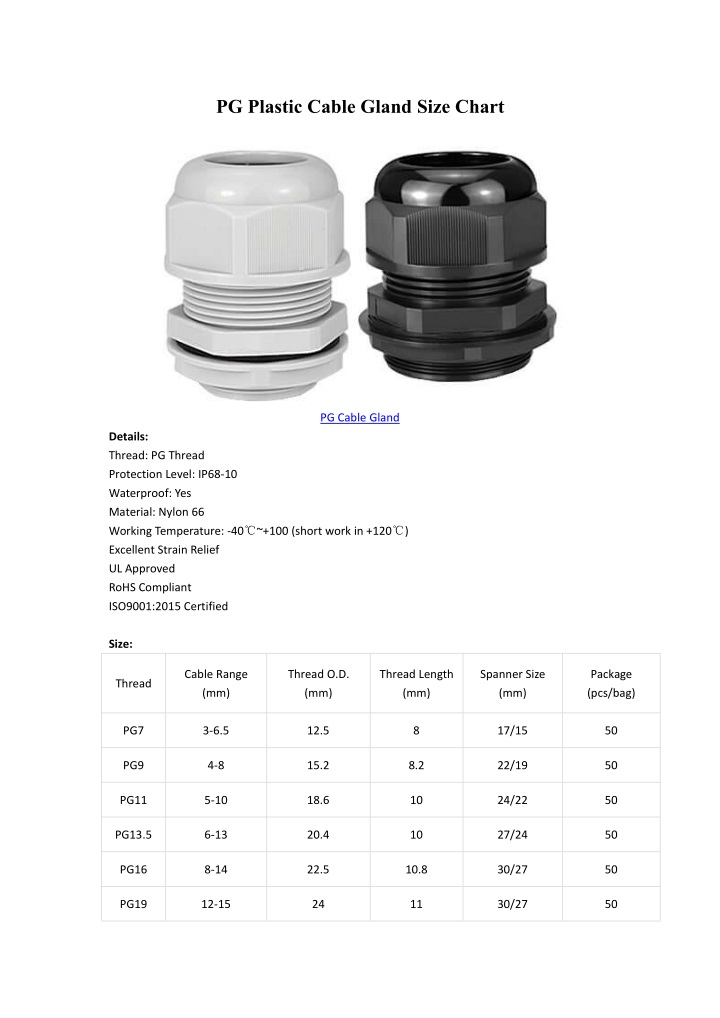 pg plastic cable gland size chart n.