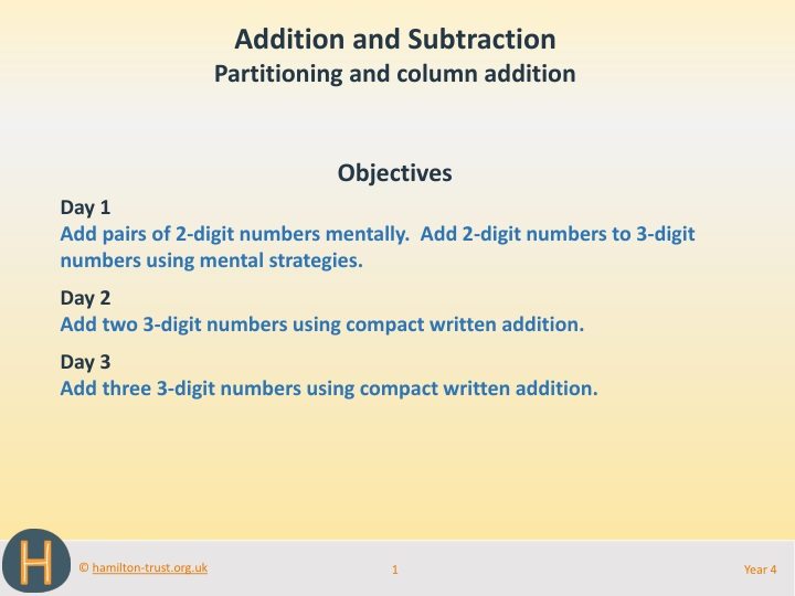 addition and subtraction partitioning and column n.