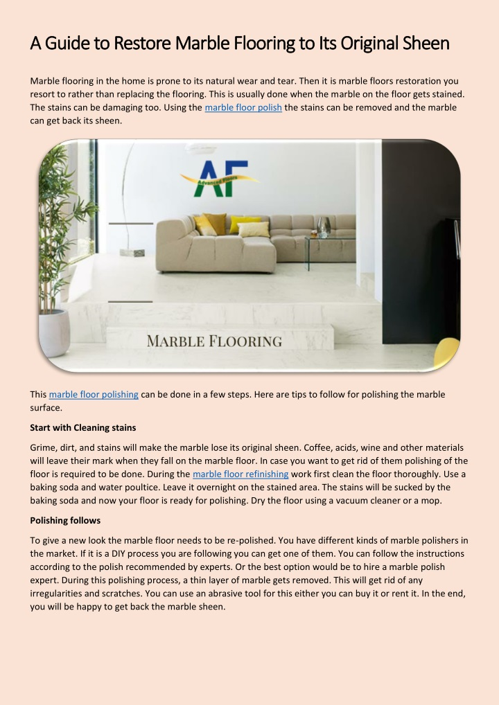 a guide to restore marble flooring n.