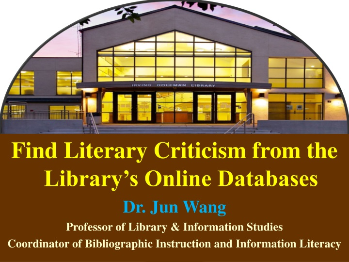 find literary criticism from the library s online n.