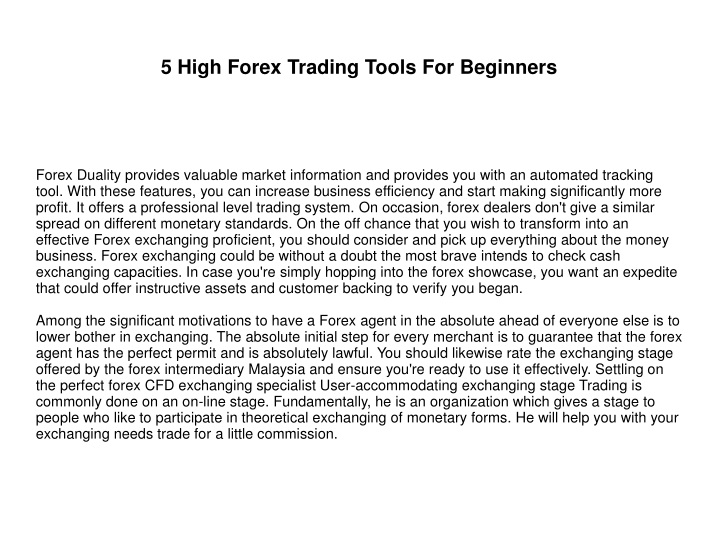 5 high forex trading tools for beginners n.