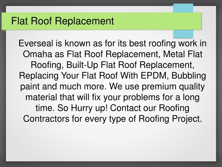 flat roof replacement n.
