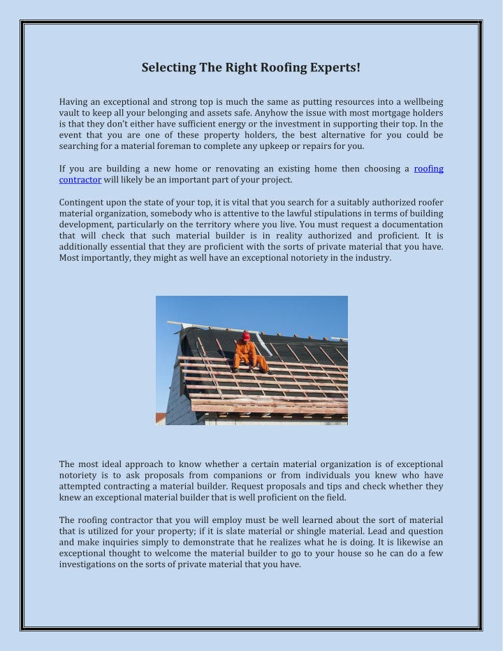 selecting the right roofing experts n.