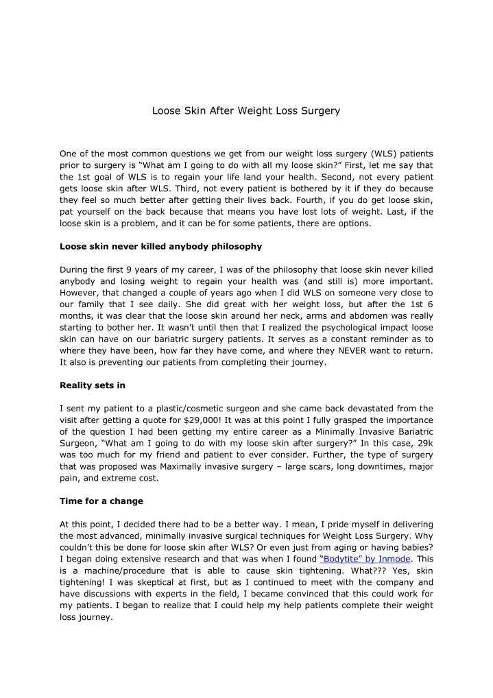 loose skin after weight loss surgery n.