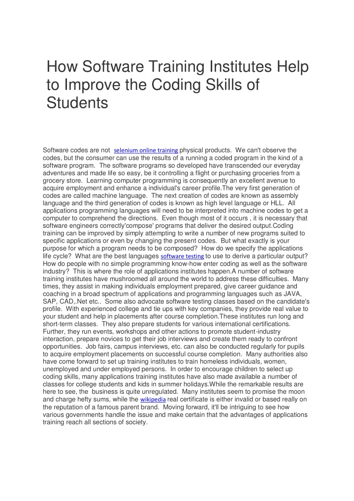 how software training institutes help to improve n.