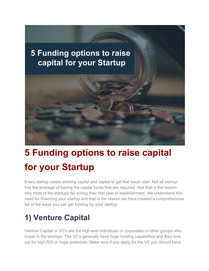 5 funding options to raise capital for your n.