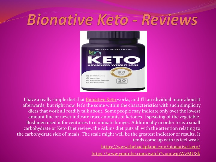 i have a really simple diet that bionative keto n.