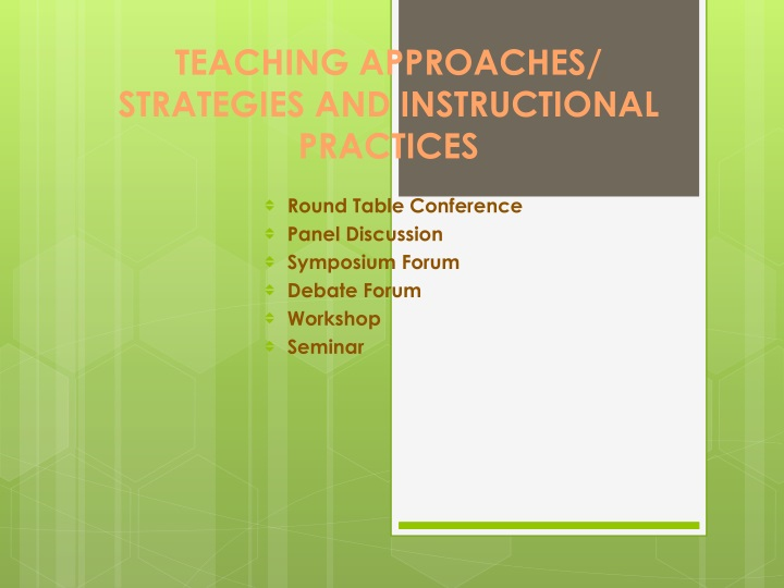 teaching approaches strategies and instructional practices n.