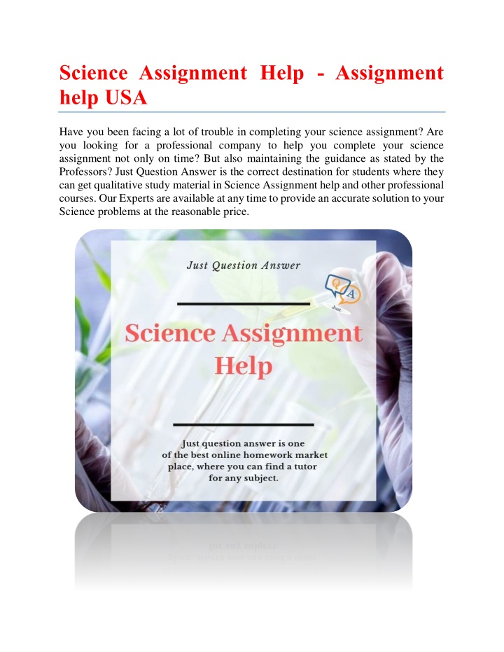 science assignment help assignment help usa n.