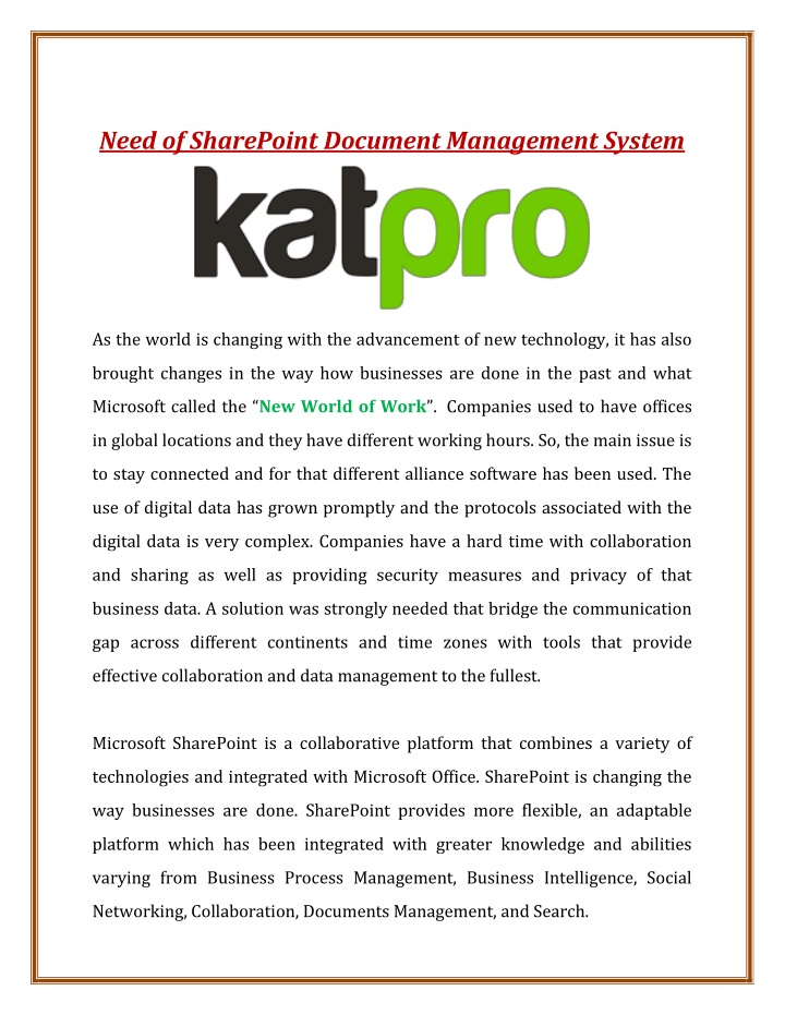 need of sharepoint document management system n.