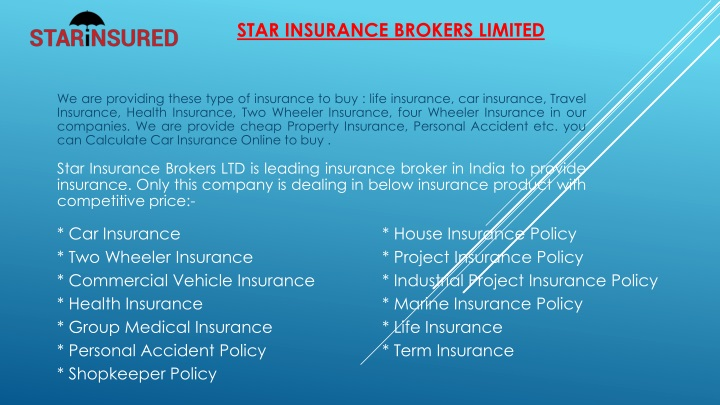 star insurance brokers limited n.
