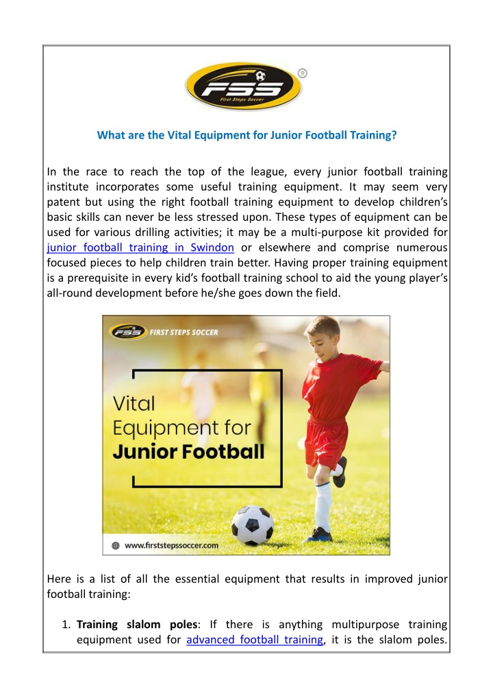 what are the vital equipment for junior football n.