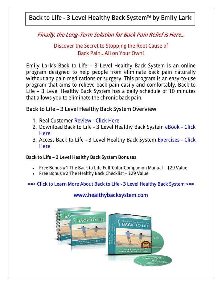 back to life 3 level healthy back system by emily n.