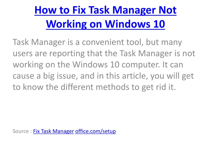 how to fix task manager not working on windows 10 n.