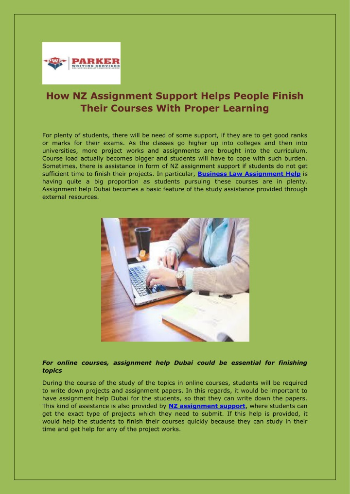 how nz assignment support helps people finish n.