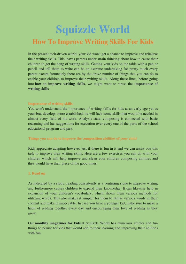 squizzle world how to improve writing skills n.