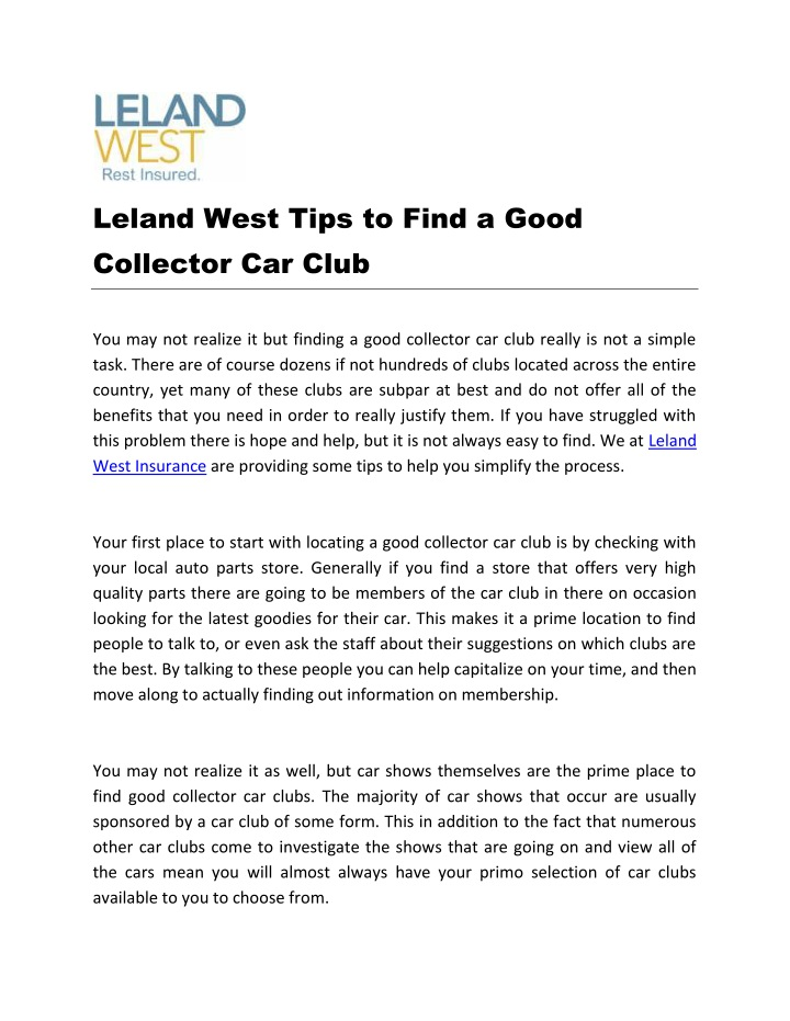 leland west tips to find a good collector car club n.