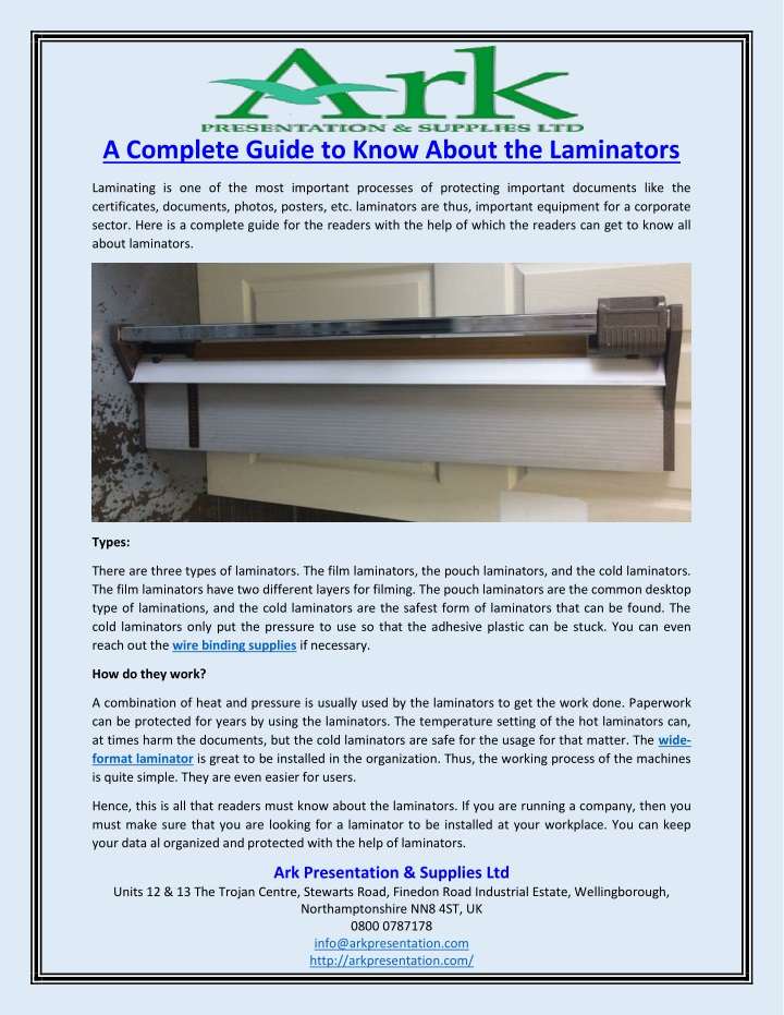 a complete guide to know about the laminators n.