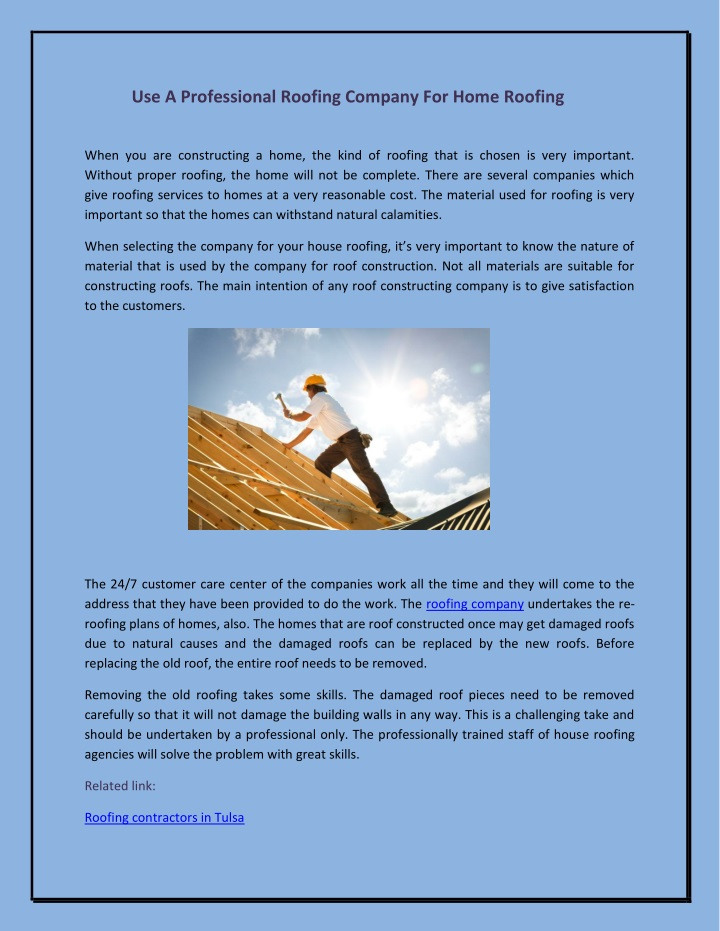 use a professional roofing company for home n.