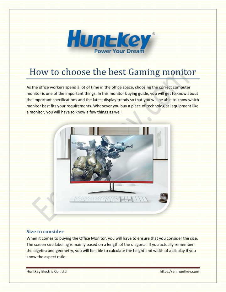 how to choose the best gaming monitor n.