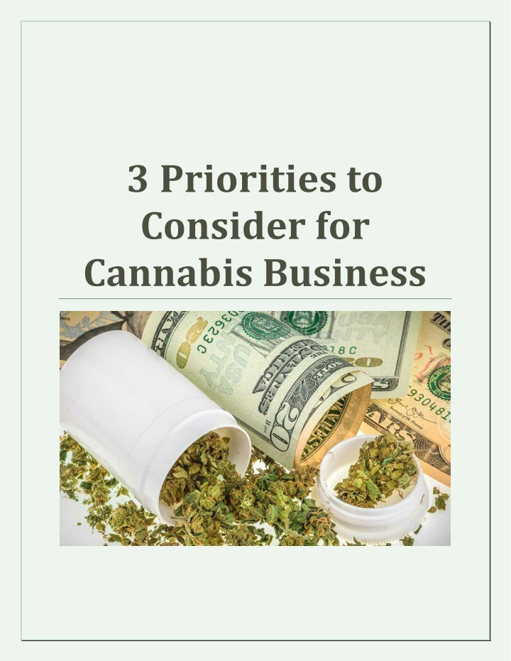 3 priorities to consider for cannabis business n.
