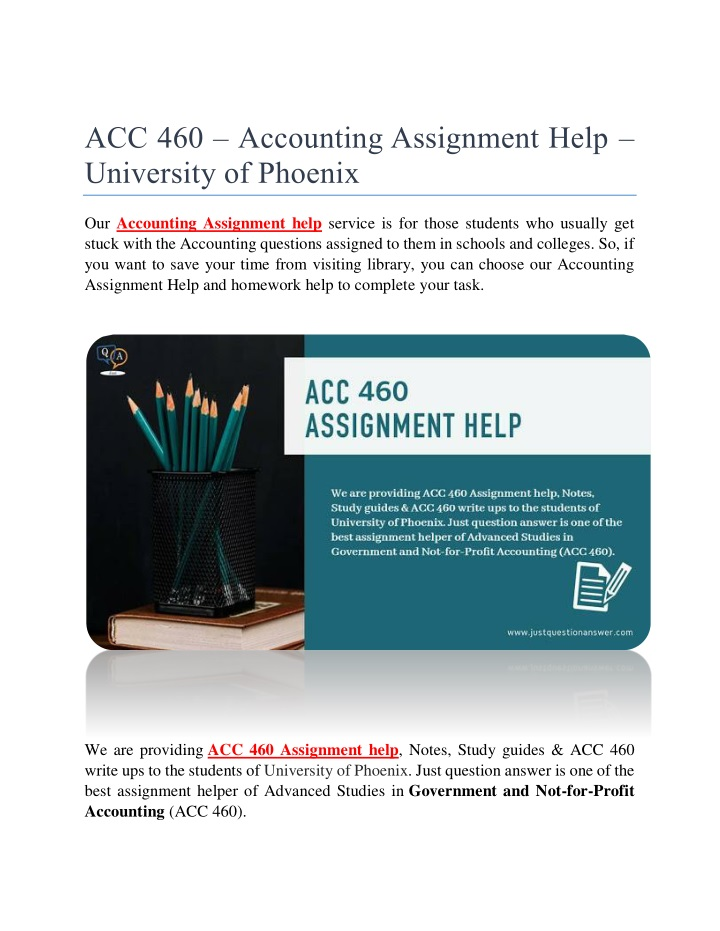 acc 460 accounting assignment help university n.