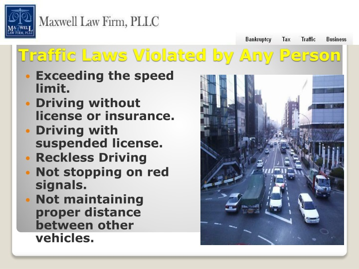traffic laws violated by any person n.