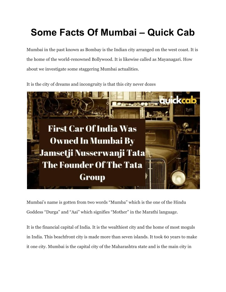 some facts of mumbai quick cab n.