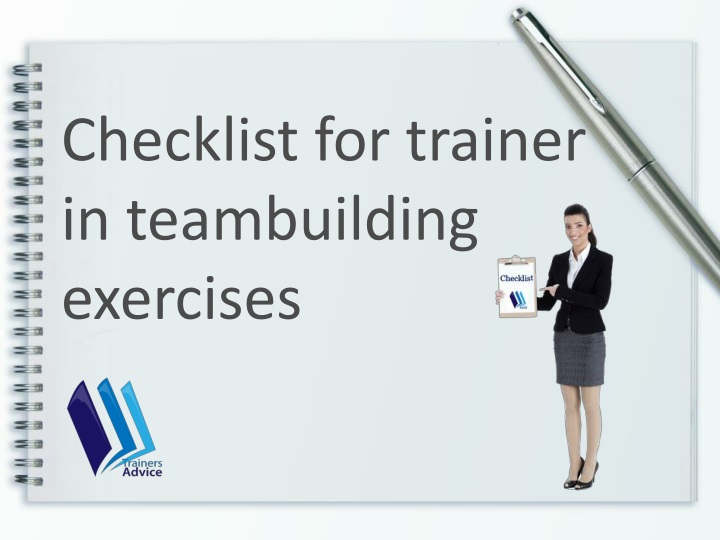 checklist for trainer in teambuilding exercises n.