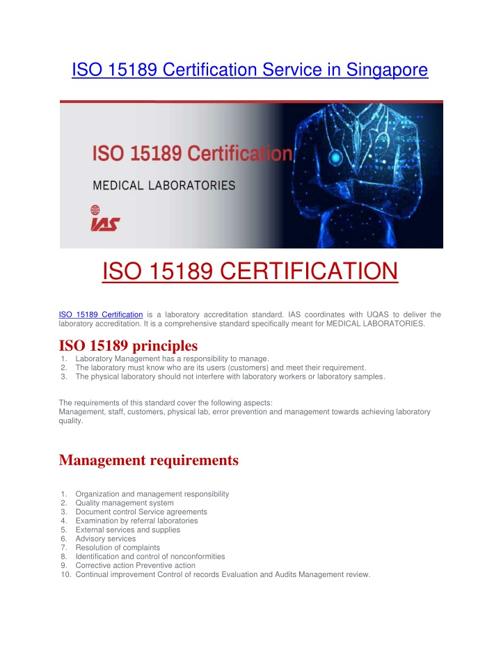 iso 15189 certification service in singapore n.