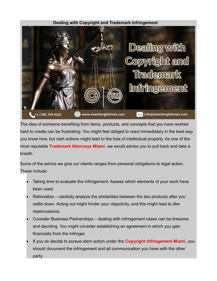 dealing with copyright and trademark infringement n.