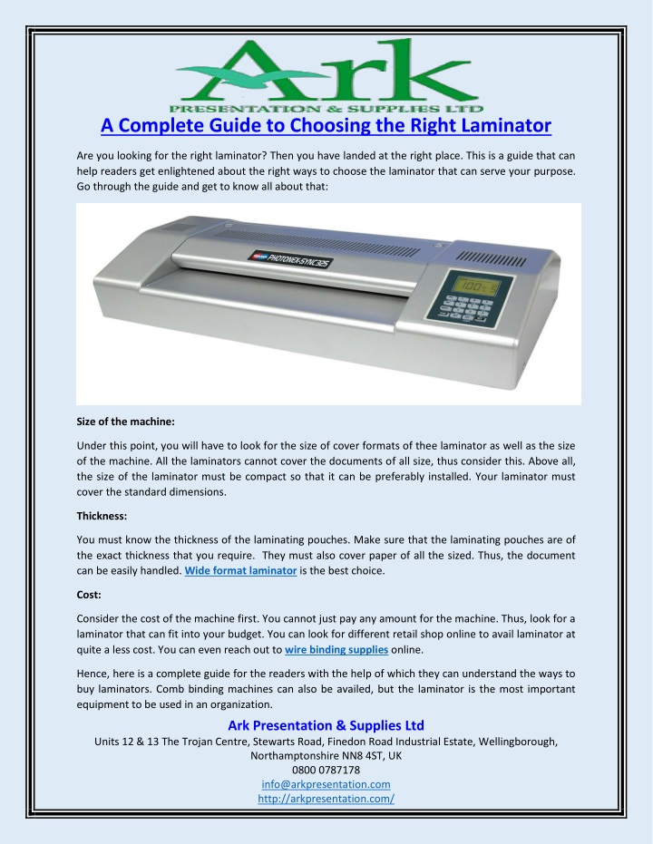 a complete guide to choosing the right laminator n.