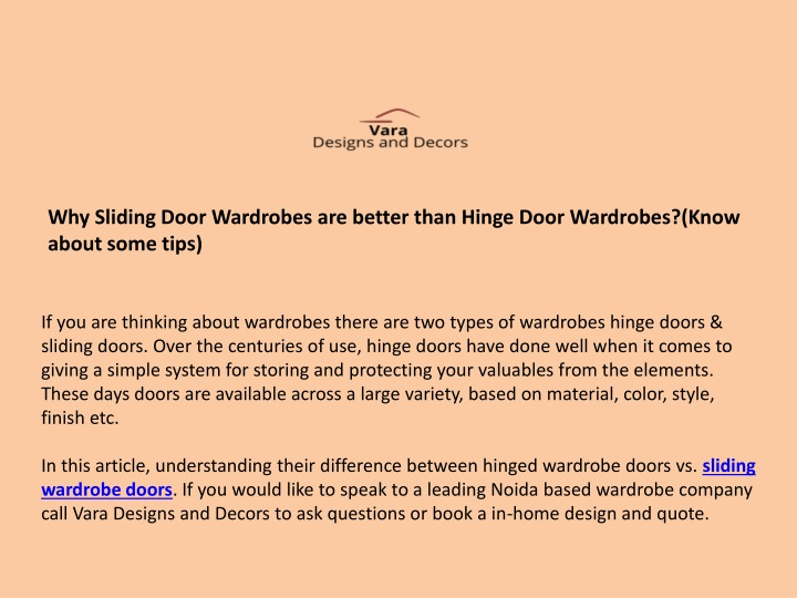 why sliding door wardrobes are better than hinge n.