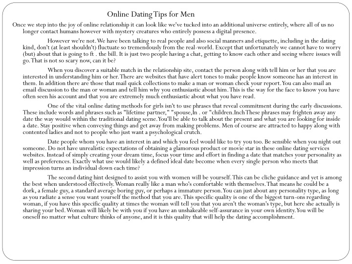 online dating tips for men once we step into n.