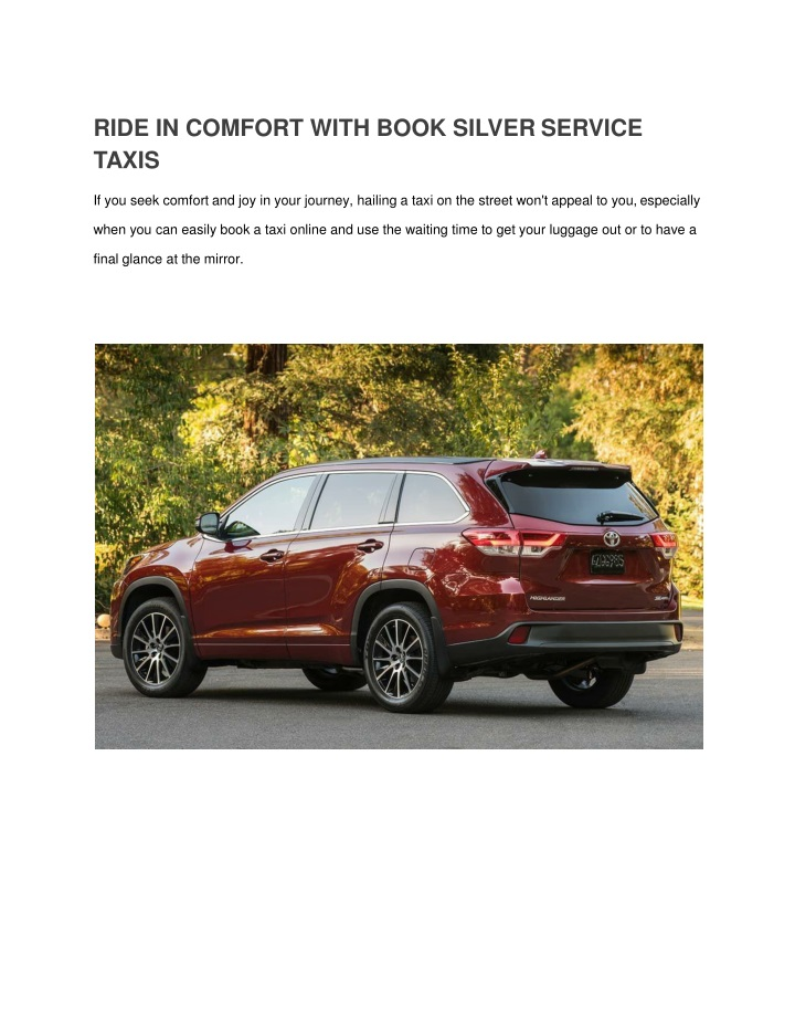 ride in comfort with book silver service taxis n.