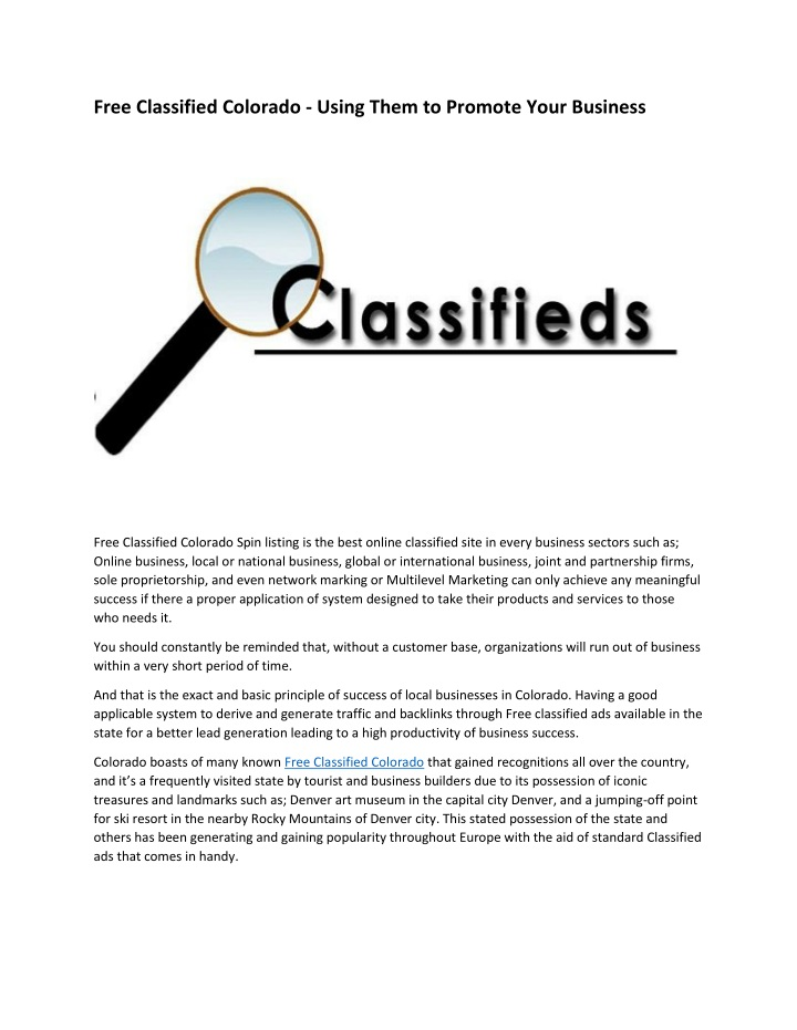 free classified colorado using them to promote n.