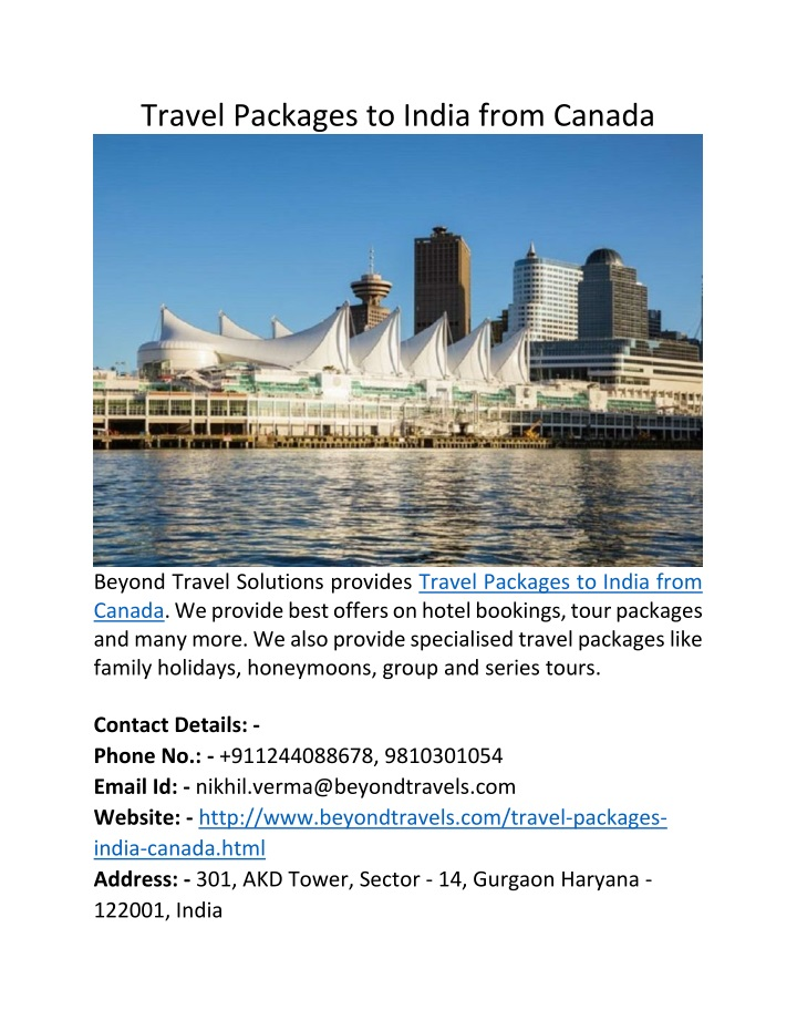 travel packages to india from canada n.