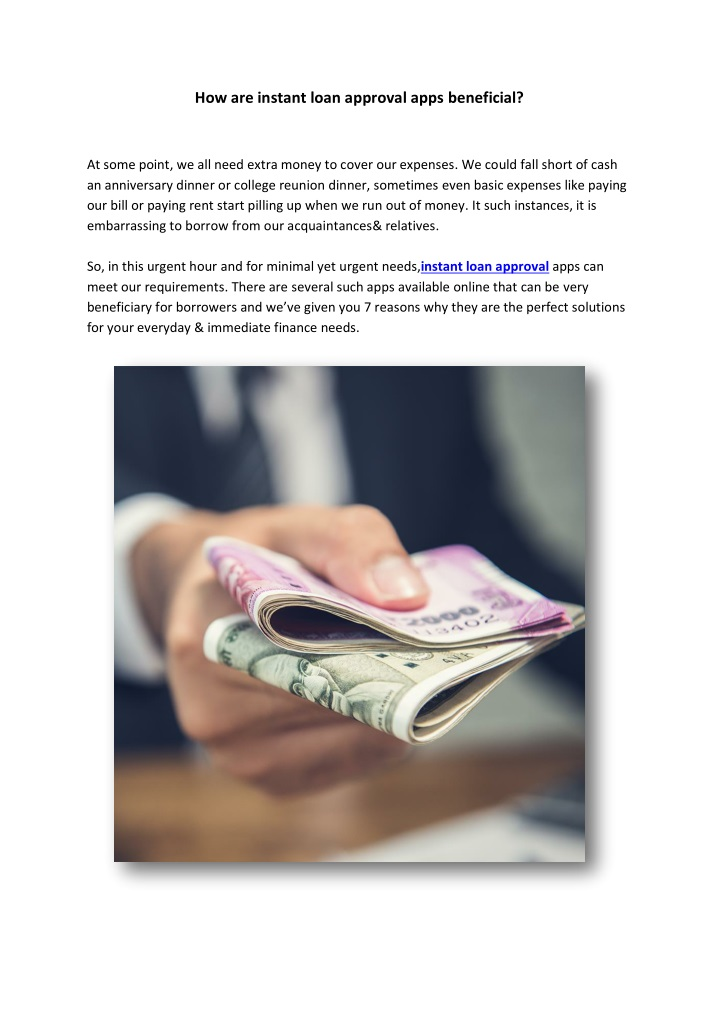 how are instant loan approval apps beneficial n.